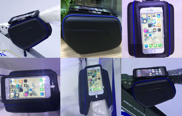 Phụ kiện túi treo trục ngang của xe Lehe K2 cho phép để điện thoại và các đồ lặt vặt.